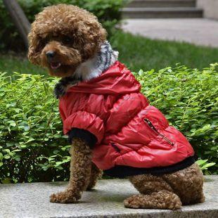 Bunda pre psa s čiernym lemovaním - červená, XXL