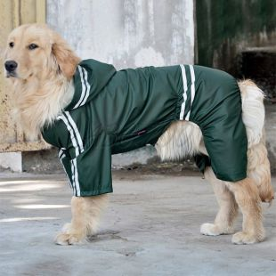 Pršiplášť pre veľkého psa reflexný - tmavozelený, 5XL