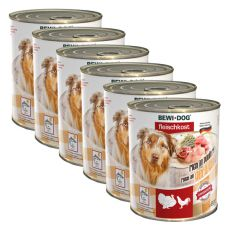 New BEWI DOG konzerva – Hydina - 6 x 800g, 5+1 GRATIS