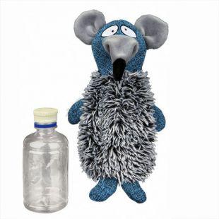 Hračka myš s plastovou fľašou - plyšová, 21 cm