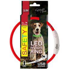 Obojok Dog Fantasy LED nylon - červený, 45cm