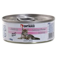 ONTARIO Junior Konzerva - kuracie kúsky a krevety - 95 g