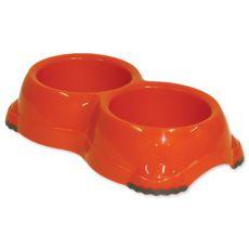 Dvojmiska pre psov Dog Fantasy - oranžová, protišmyková, 2 x 645 ml