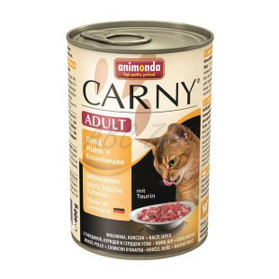 Krmivo CARNY ADULT hovädzie, kuracie mäso + kačacie srdcia - 400 g