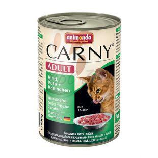 Krmivo CARNY ADULT s hovädzím mäsom, morkou a králikom - 400 g