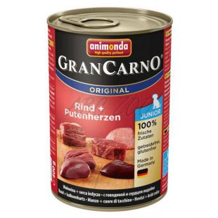 Konzerva GranCarno Original Junior hovädzie mäso a morčacie srdcia - 400g