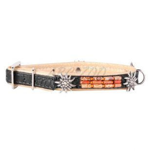 Zdobený kožený obojok- 38 - 49cm, 25mm - čierno - béžový