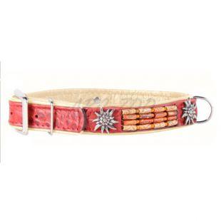 Zdobený kožený obojok- 46 - 60cm, 35mm - červeno - béžový
