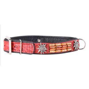 Zdobený kožený obojok- 46 - 60cm, 35mm - červený