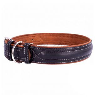 Kožený obojok Soft pre psa - 30 - 39cm, 20mm, čierno - hnedý