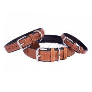 Kožený obojok Soft pre psa - 27- 36cm, 15mm, hnedo - čierny