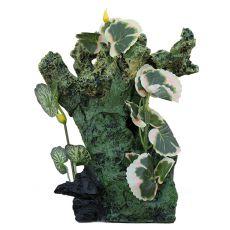 Dekorácia do akvária 2157 - Zelená skala s rastlinami