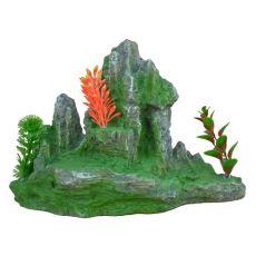 Dekorácia do akvária 2171 - Zelená skala s rastlinami