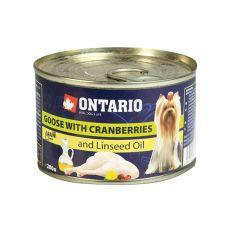 Konzerva ONTARIO Husacina s brusnicami a ľanovým olejom – 200g