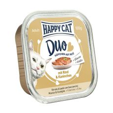 Happy Cat DUO MENU - hovädzie a králik, 100g