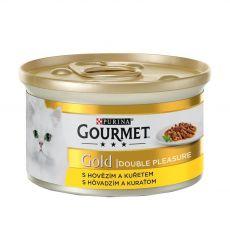 Konzerva Gourmet GOLD - grilované a dusené kúsky mäsa s hovädzím a kuraťom, 85g