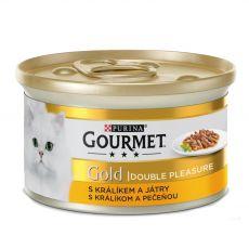 Konzerva Gourmet GOLD - grilované a dusené kúsky mäsa s králikom a pečeňou, 85g