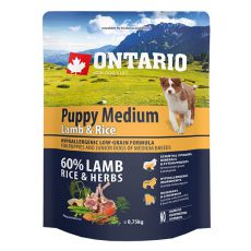 ONTARIO Puppy Medium Lamb & Rice 0,75kg