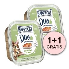 Happy Cat DUO MENU - hydina a jahňa, 100g + 100g GRATIS