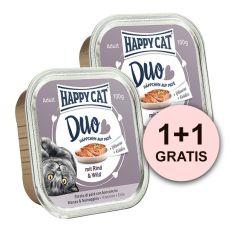Happy Cat DUO MENU - hovädzie a zverina, 100g + 100g GRATIS