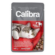 CALIBRA Cat Adult kuracie a hovädzie kúsky v omáčke 100g