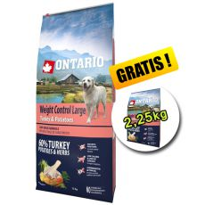 ONTARIO Weight Control Large turkey & potatoes 12kg + 2,25kg GRATIS