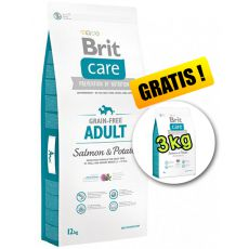 Brit Care Grain-free Adult Salmon & Potato 12kg + 3kg GRATIS