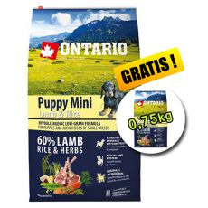 ONTARIO Puppy Mini Lamb & Rice 6,5kg + 0,75kg
