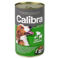 Konzerva Calibra Dog Adult jahňa, hovädzie a kura v želé, 1240g