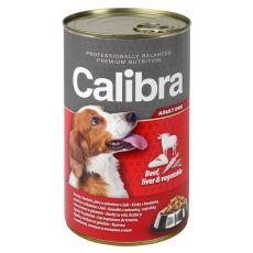 Konzerva Calibra Dog Adult hovädzie, pečeň a zelenina v želé, 1240g