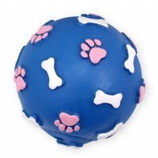 Vinylová lopta s kostičkami a labkami - modrá 7,5cm