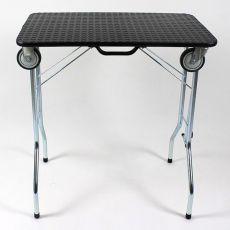 Stôl trimovací skladací s kolieskami 110 x 55 x 60 cm, čierny