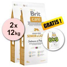 Brit Care Grain Free Senior Light Salmon & Potato 2 x 12 kg + 6 kg GRATIS