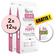 Brit Care Grain-free Puppy Salmon & Potato 2 x 12 kg + 6 kg GRATIS
