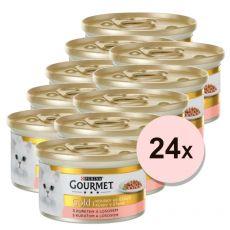 Konzerva Gourmet GOLD - kúsky v šťave s lososom a kuracinou, 24 x 85g