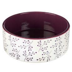 Keramická miska pre psa bielo - vínová 1,4 L