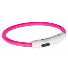 Svietiaci LED obojok M-L, ružový 45 cm