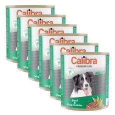 Konzerva CALIBRA Premium Adult - hovädzie a zelenina, 6 x 800 g