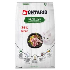 Ontario Cat Sensitive Duck & Lamb 6,5 kg