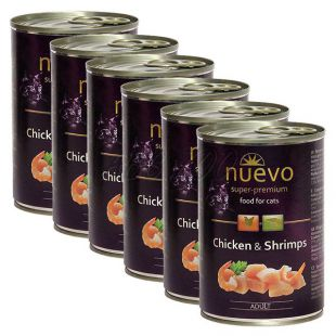 Konzerva NUEVO CAT Adult Chicken & Shrimps 6 x 400 g, 5 + 1 GRATIS