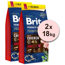 Brit Premium by Nature Adult Large 2 x 15 kg + 6kg GRATIS