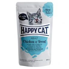Kapsička Happy Cat MEAT IN SAUCE Adult Chicken & Trout 85 g