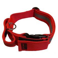 Červený bezpečnostný obojok s rúčkou 47 - 75 cm, 50 mm