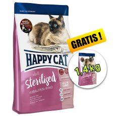 Happy Cat Sterilised Voralpen Rind / Hovädzie 1,4 kg + 1,4 kg GRATIS