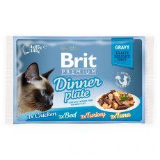 Kapsičky BRIT Premium Cat Delicate Fillets in Gravy Dinner Plate 4 x 85 g