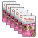 CALIBRA Cat Kitten kuracie a morčacie kúsky v omáčke 6 x 100 g