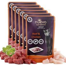 Kapsička NUEVO CAT Adult Beef & Chicken 6 x 85 g, 5 + 1 GRATIS