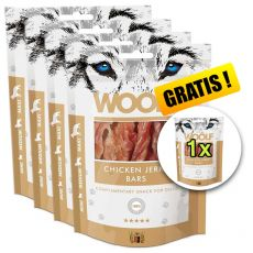WOOLF Chicken Jerky Bars 5 x 100g, 4+1 GRATIS