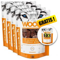 WOOLF Chicken with Carrots Bites 5 x 100g, 4+1 GRATIS
