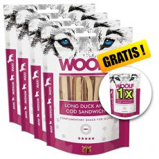 WOOLF Long Duck and Cod Sandwich 5 x 100g, 4+1 GRATIS